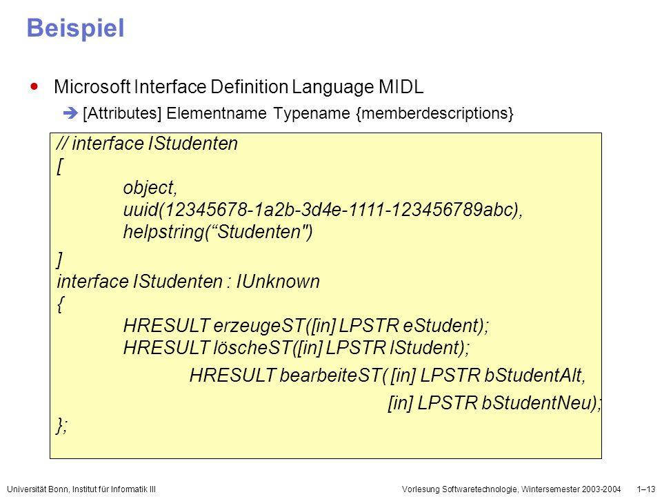 Beispiel Microsoft Interface Definition Language MIDL
