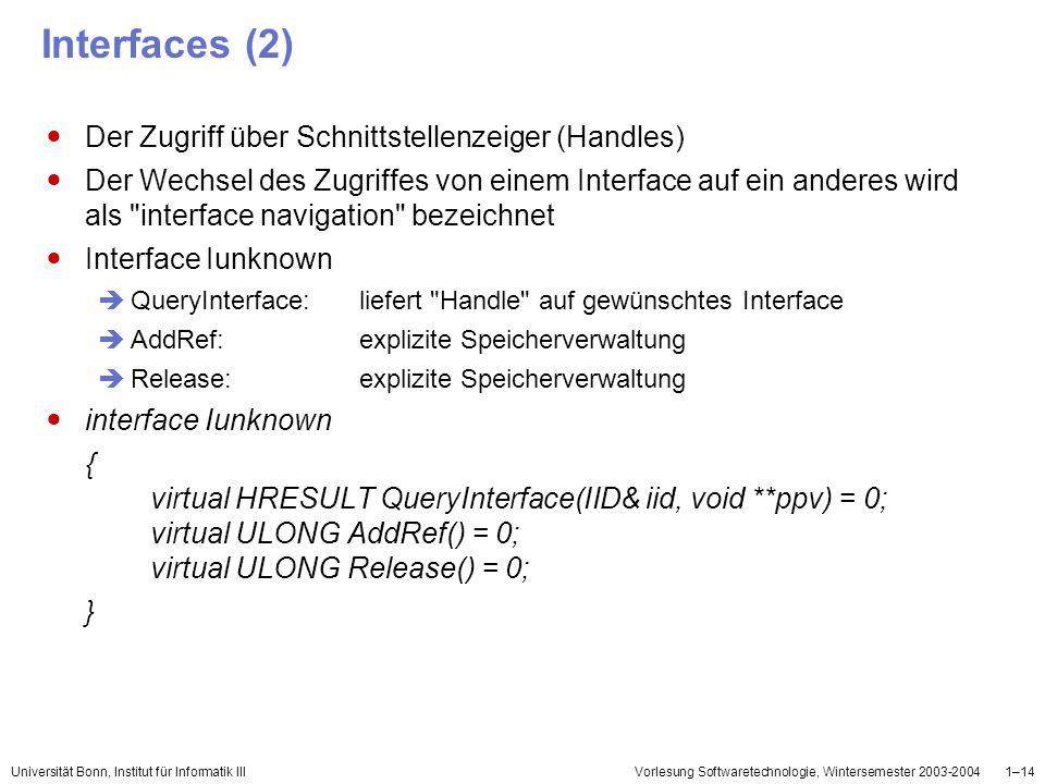 Interfaces (2) Der Zugriff über Schnittstellenzeiger (Handles)