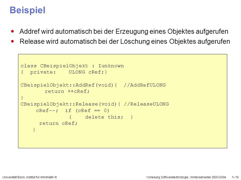 Beispiel Addref wird automatisch bei der Erzeugung eines Objektes aufgerufen. Release wird automatisch bei der Löschung eines Objektes aufgerufen.