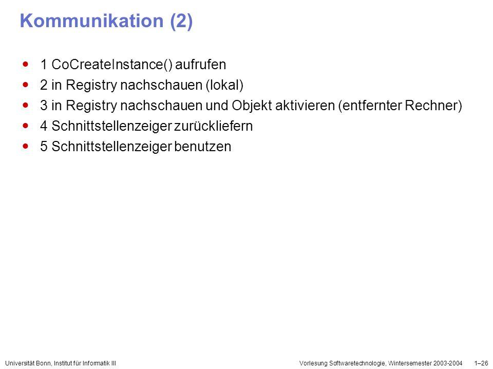 Kommunikation (2) 1 CoCreateInstance() aufrufen