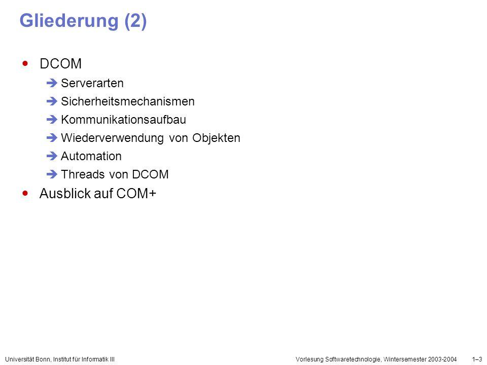 Gliederung (2) DCOM Ausblick auf COM+ Serverarten
