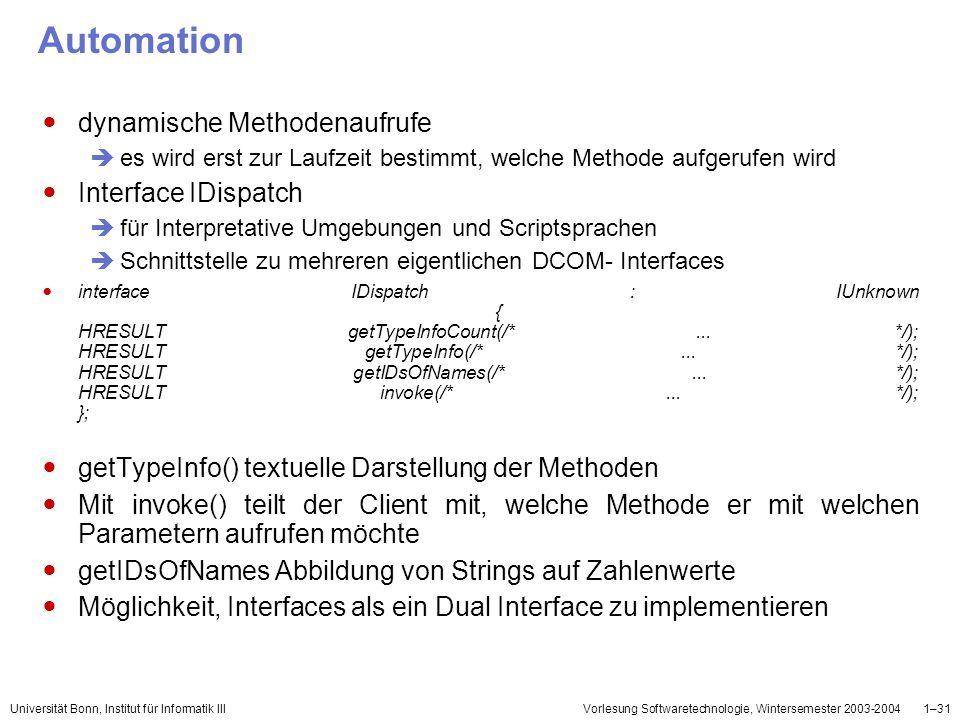 Automation dynamische Methodenaufrufe Interface IDispatch