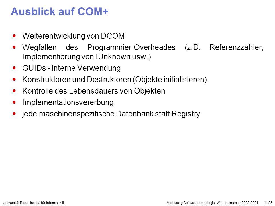 Ausblick auf COM+ Weiterentwicklung von DCOM