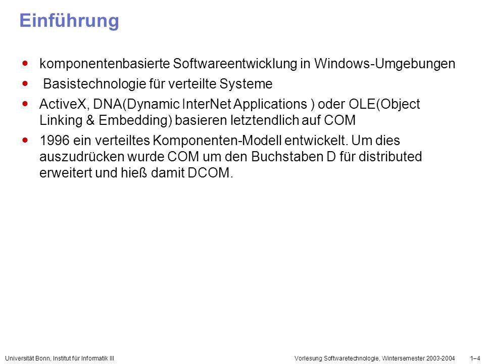 Einführung komponentenbasierte Softwareentwicklung in Windows-Umgebungen. Basistechnologie für verteilte Systeme.