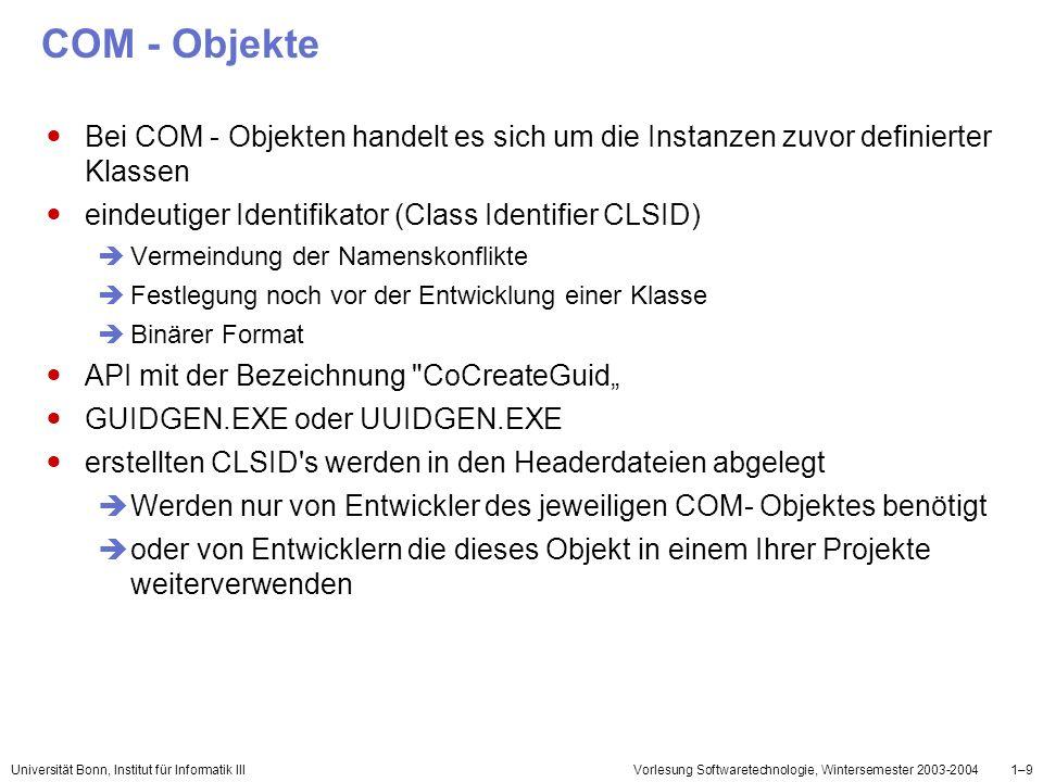 COM - Objekte Bei COM - Objekten handelt es sich um die Instanzen zuvor definierter Klassen. eindeutiger Identifikator (Class Identifier CLSID)