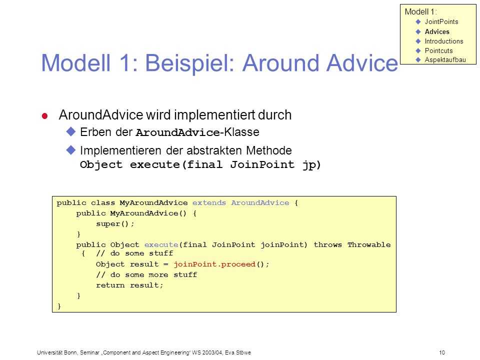 Modell 1: Beispiel: Around Advice