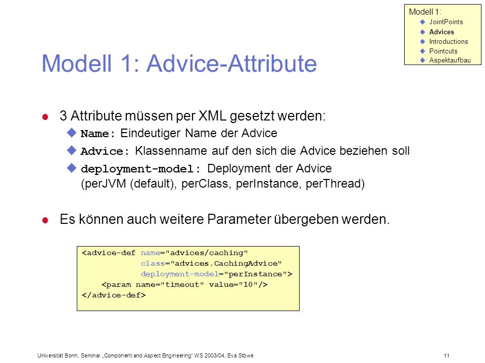 Modell 1: Advice-Attribute