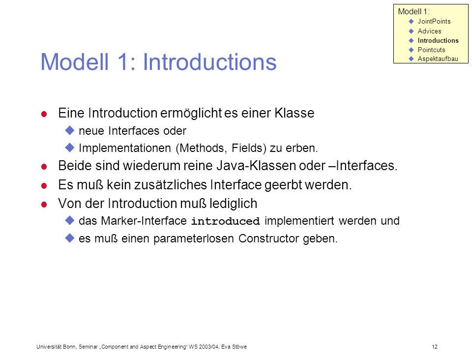 Modell 1: Introductions