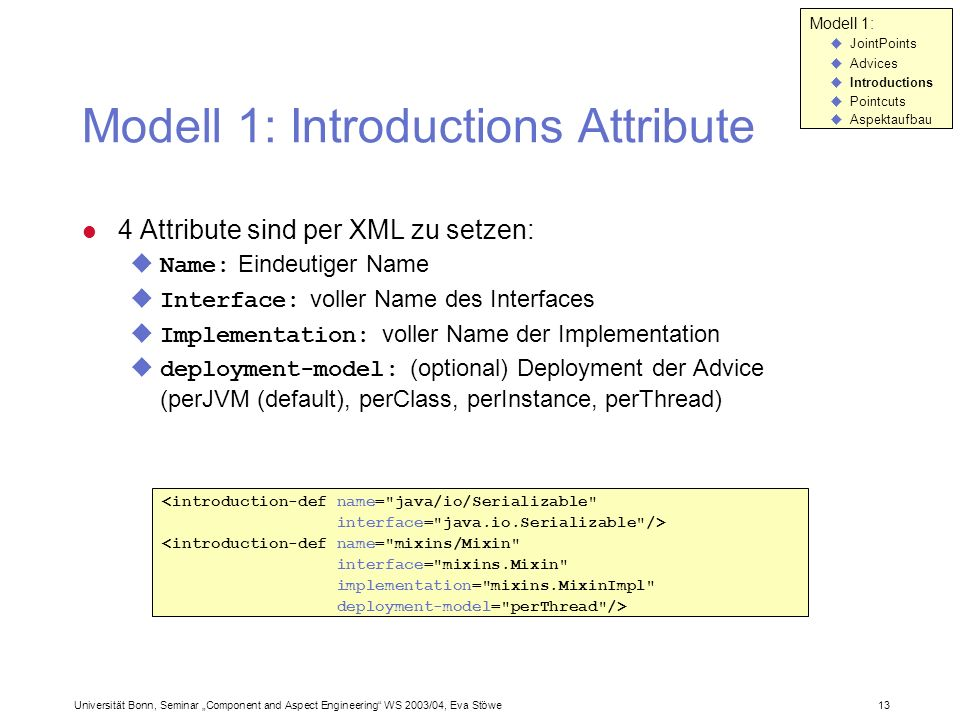 Modell 1: Introductions Attribute