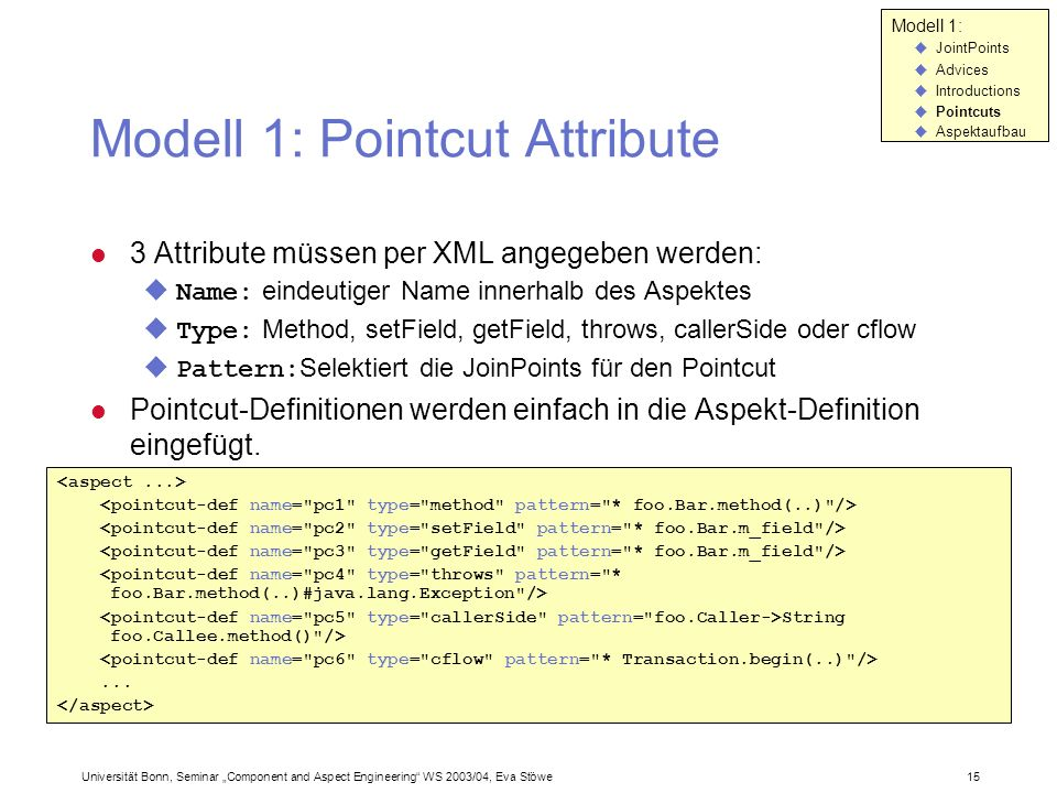 Modell 1: Pointcut Attribute