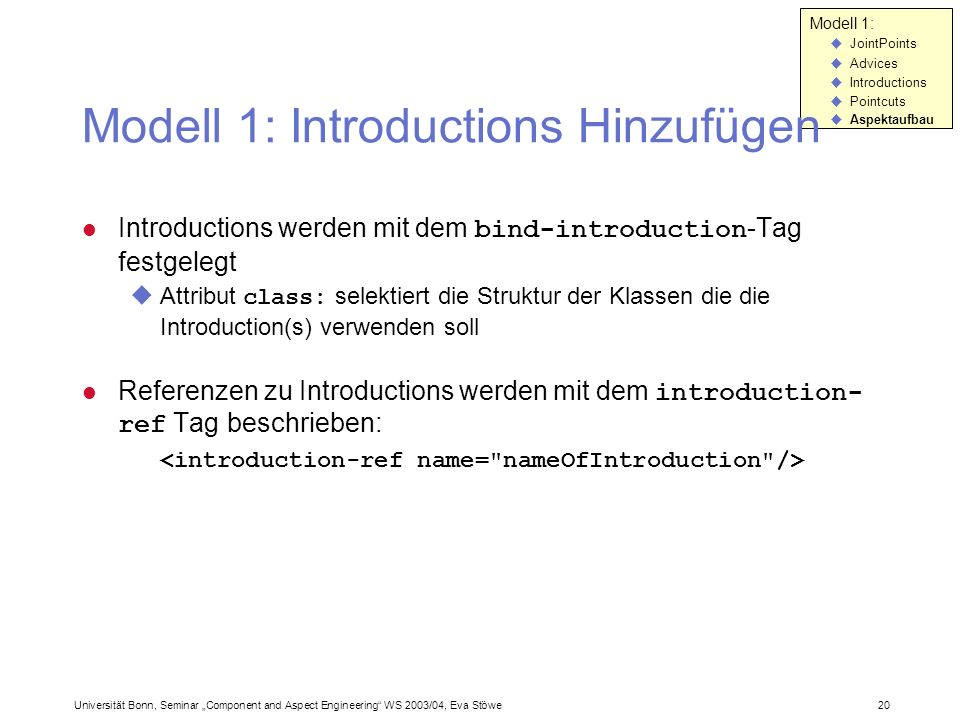 Modell 1: Introductions Hinzufügen