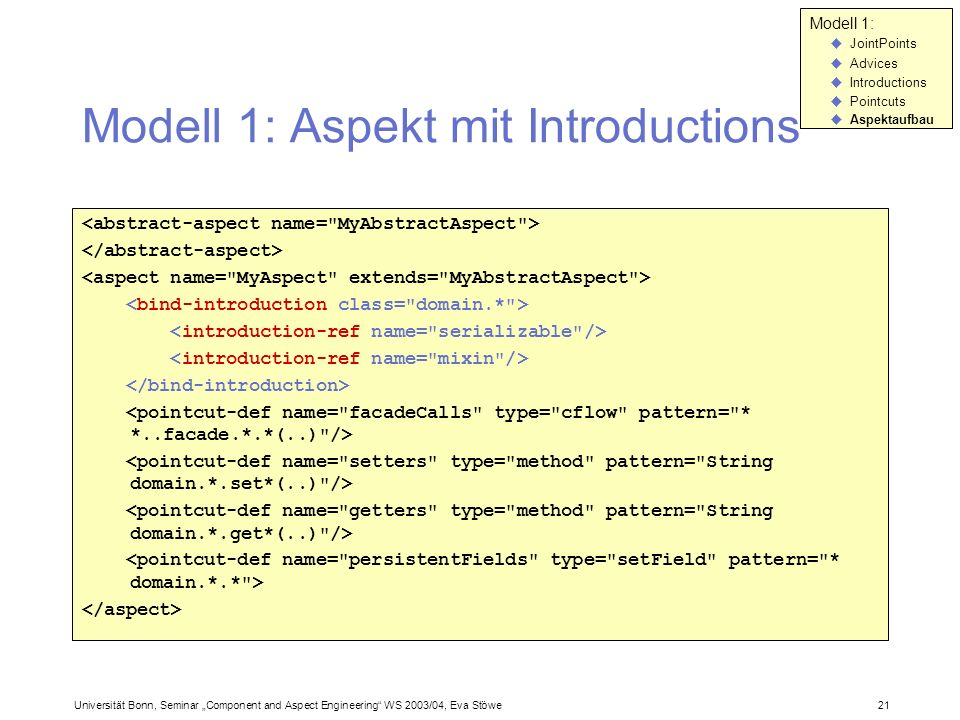 Modell 1: Aspekt mit Introductions