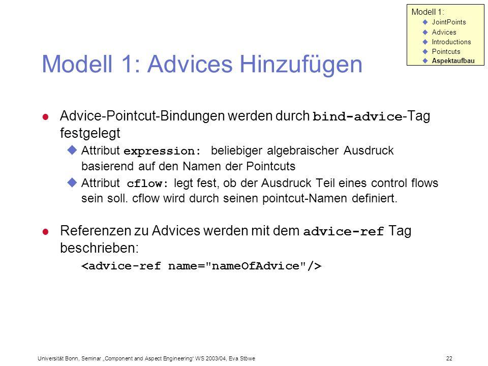 Modell 1: Advices Hinzufügen