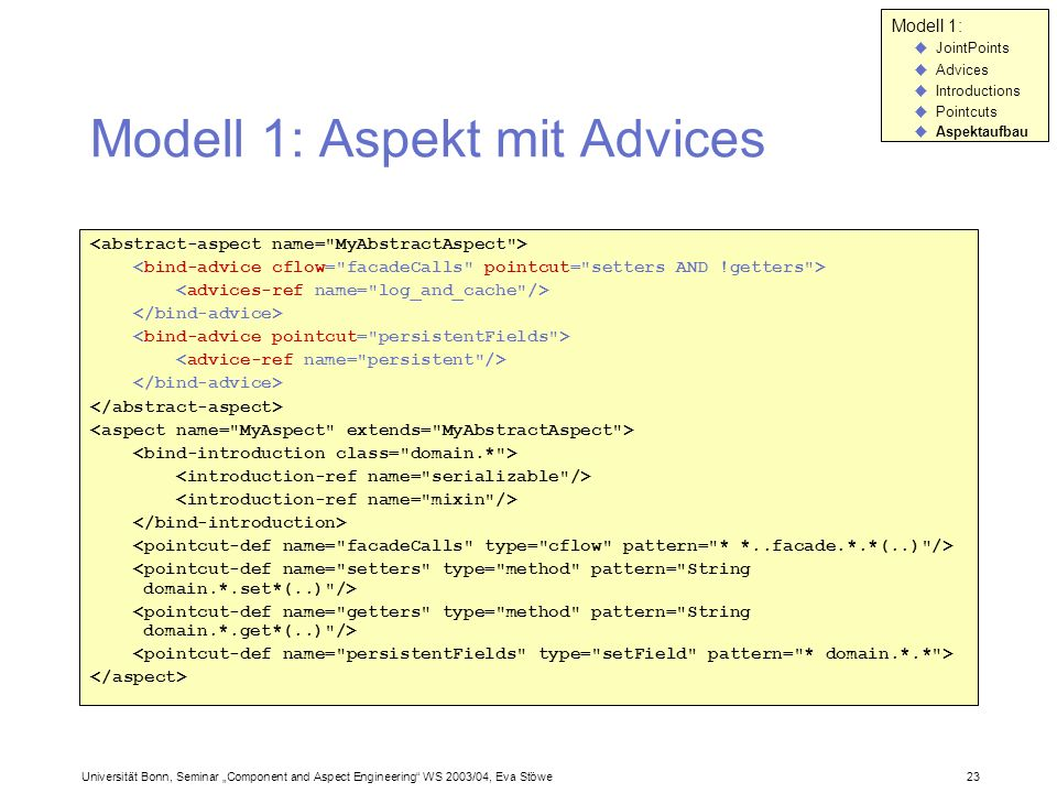 Modell 1: Aspekt mit Advices