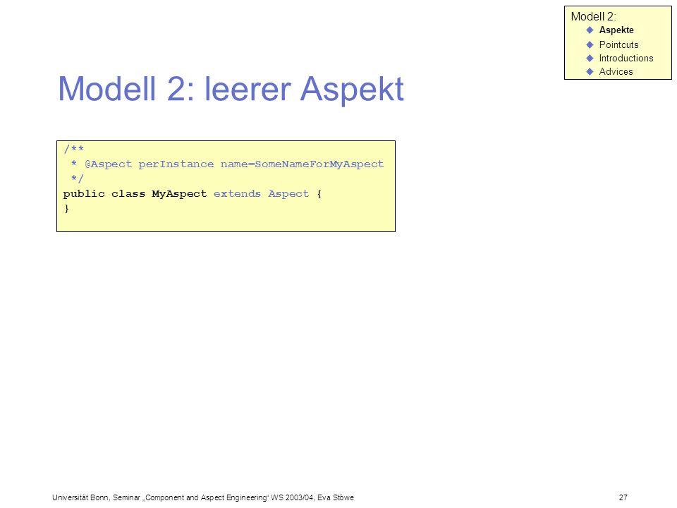 Modell 2: leerer Aspekt Modell 2: /**