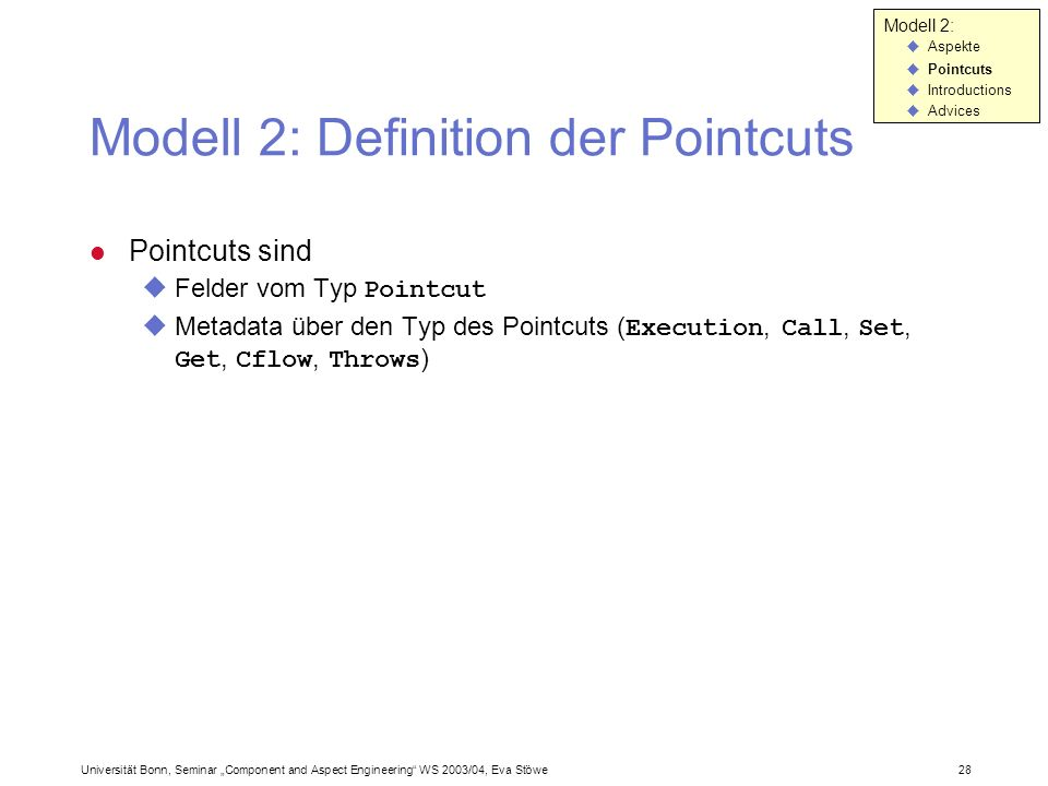 Modell 2: Definition der Pointcuts