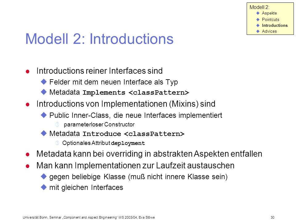 Modell 2: Introductions