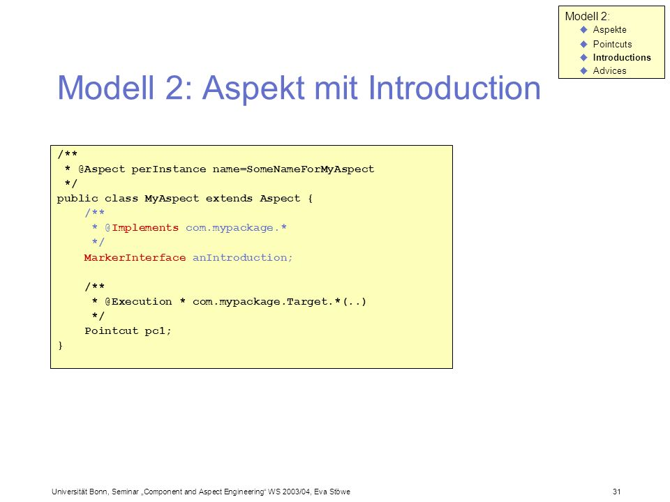 Modell 2: Aspekt mit Introduction