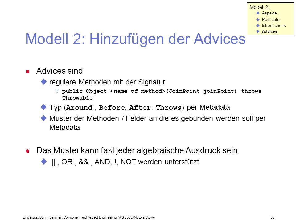 Modell 2: Hinzufügen der Advices