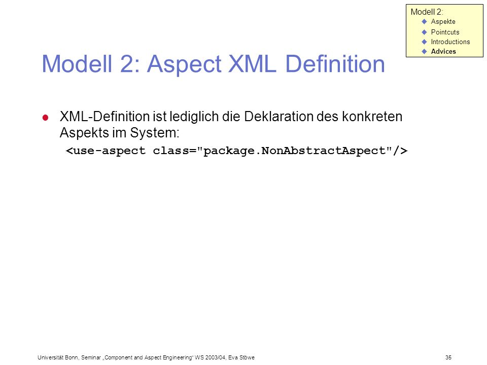 Modell 2: Aspect XML Definition