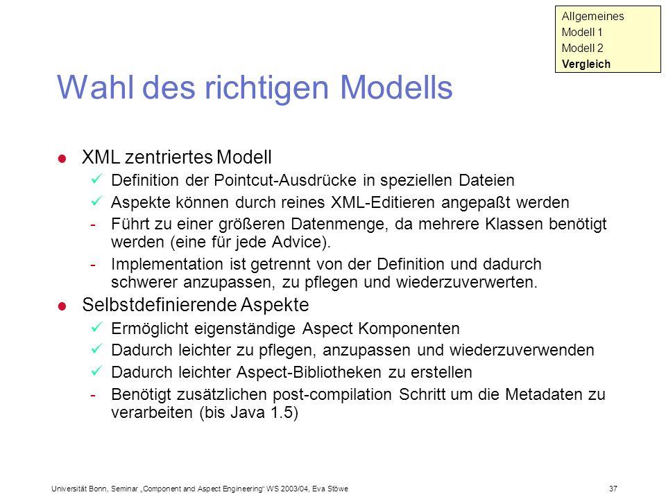 Wahl des richtigen Modells