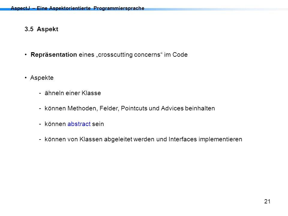 """Repräsentation eines """"crosscutting concerns im Code"""
