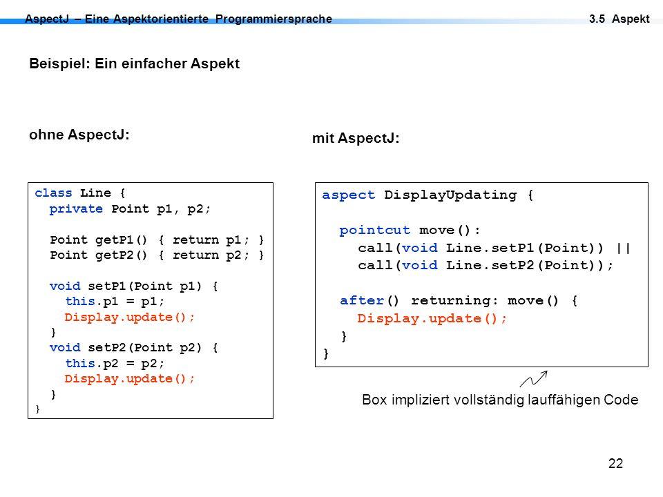 Box impliziert vollständig lauffähigen Code