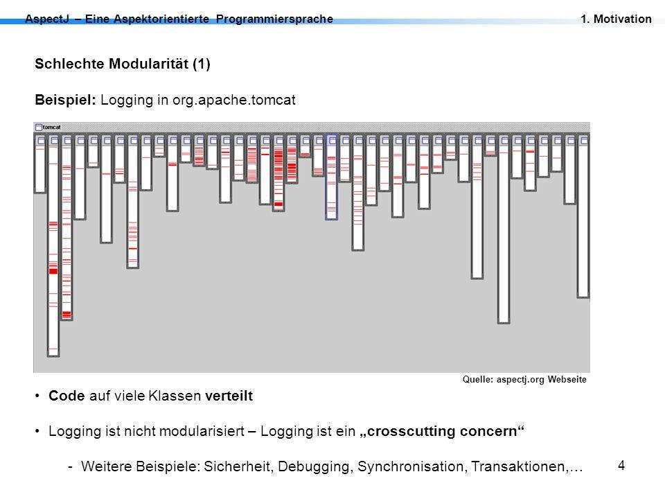 Schlechte Modularität (1) Beispiel: Logging in org.apache.tomcat