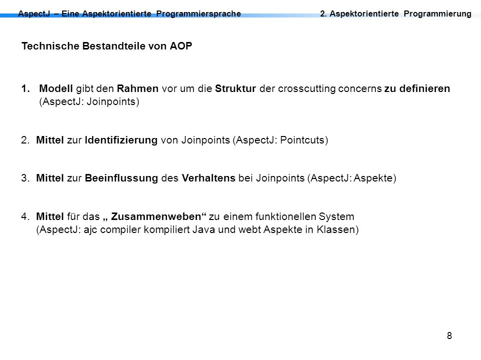 Technische Bestandteile von AOP