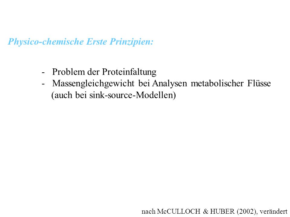 Physico-chemische Erste Prinzipien: