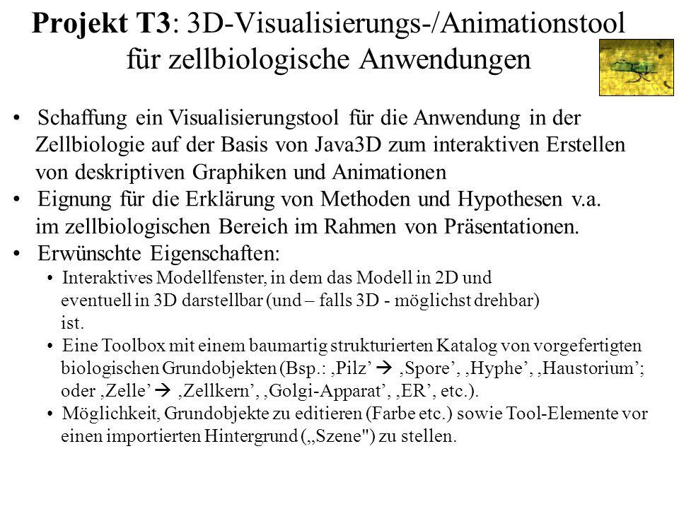 Projekt T3: 3D-Visualisierungs-/Animationstool für zellbiologische Anwendungen