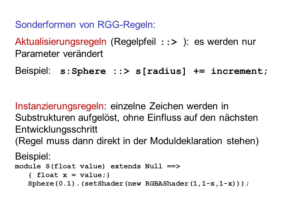 Sonderformen von RGG-Regeln: