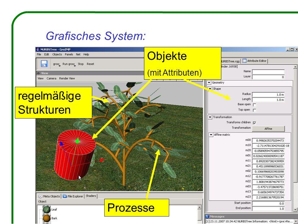 Grafisches System: Objekte regelmäßige Strukturen Prozesse
