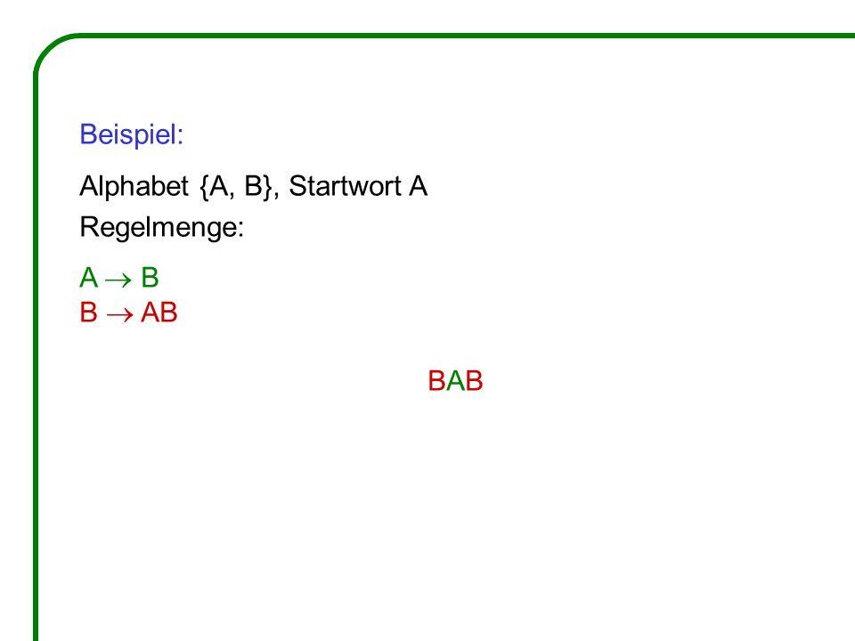 Beispiel: Alphabet {A, B}, Startwort A Regelmenge: A  B B  AB BAB