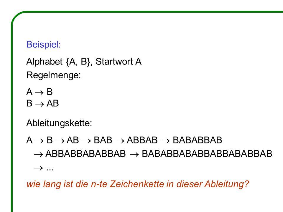 Beispiel: Alphabet {A, B}, Startwort A. Regelmenge: A  B. B  AB. Ableitungskette: A  B  AB  BAB  ABBAB  BABABBAB.