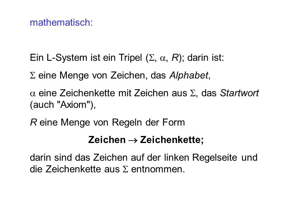 mathematisch: Ein L-System ist ein Tripel (, , R); darin ist: eine Menge von Zeichen, das Alphabet,