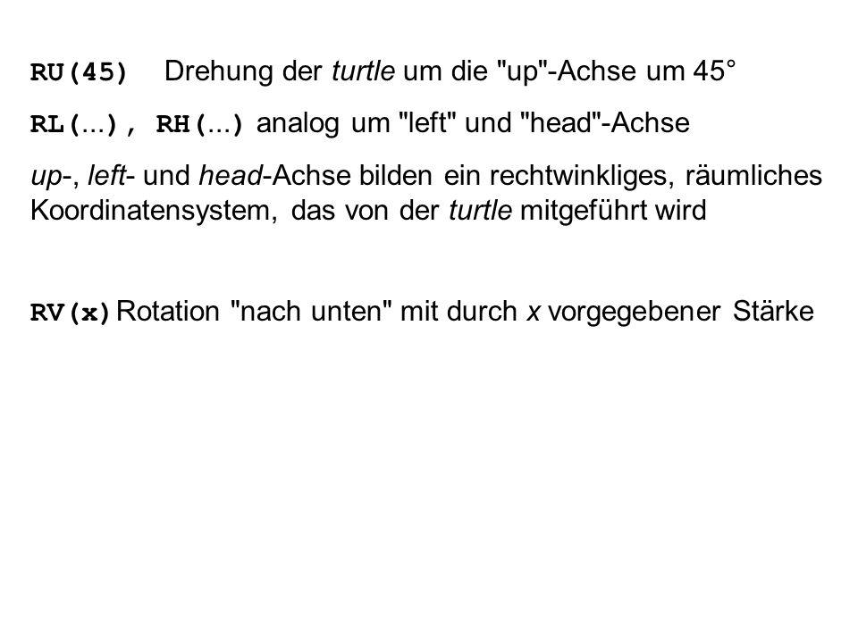 RU(45) Drehung der turtle um die up -Achse um 45°