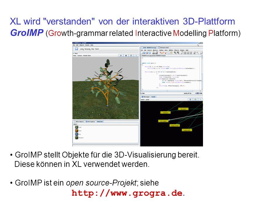 XL wird verstanden von der interaktiven 3D-Plattform GroIMP (Growth-grammar related Interactive Modelling Platform)
