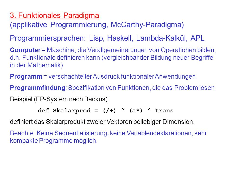Programmiersprachen: Lisp, Haskell, Lambda-Kalkül, APL