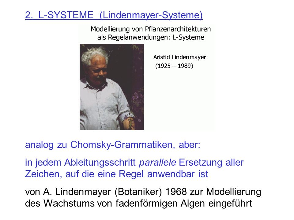 2. L-SYSTEME (Lindenmayer-Systeme)