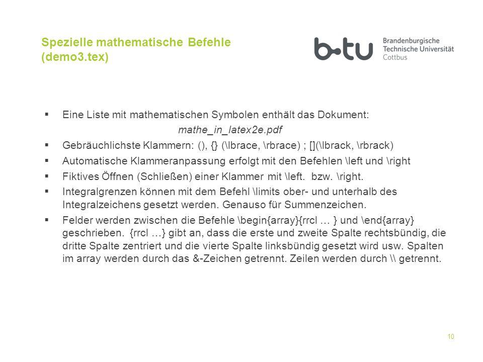 Spezielle mathematische Befehle (demo3.tex)