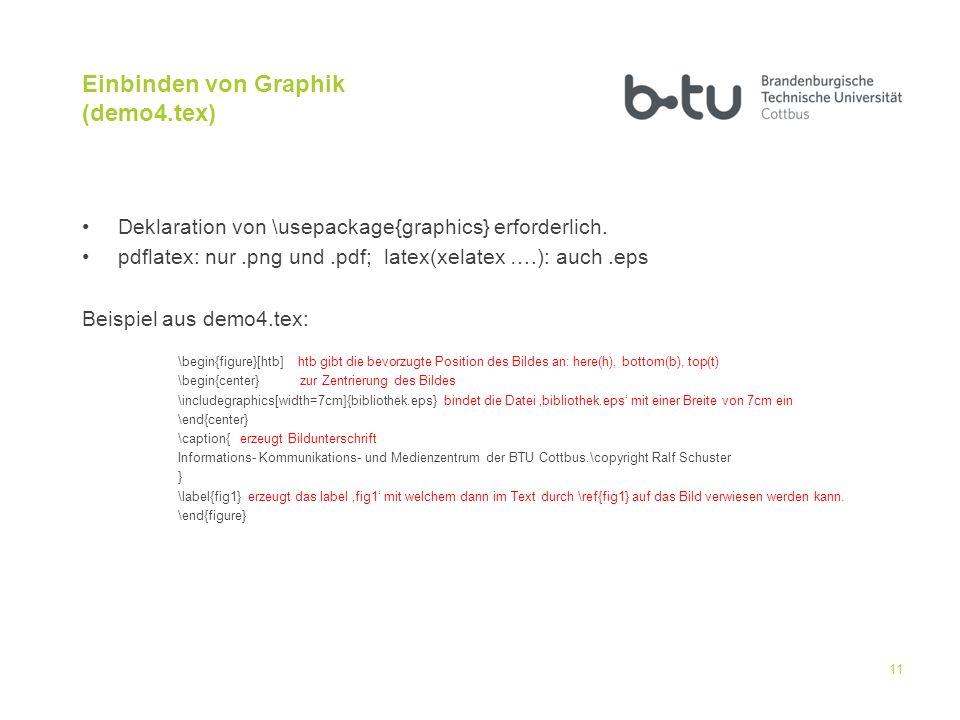 Einbinden von Graphik (demo4.tex)