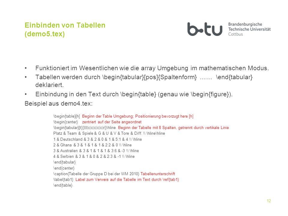Einbinden von Tabellen (demo5.tex)