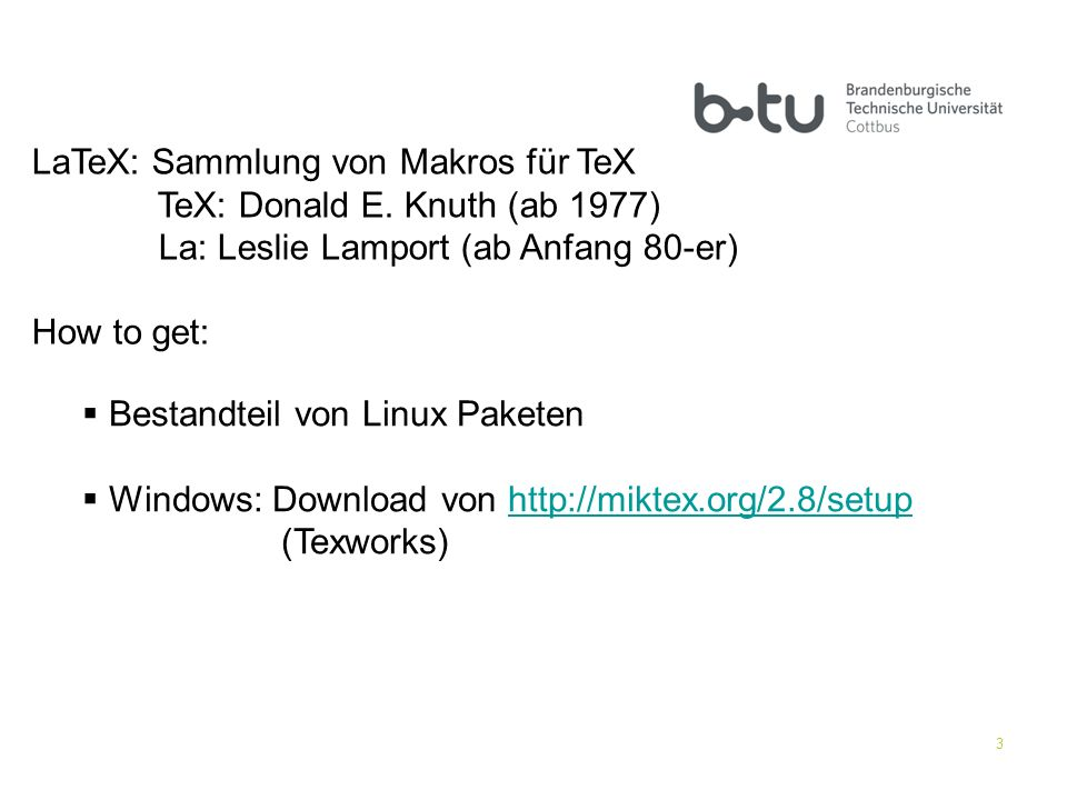 LaTeX: Sammlung von Makros für TeX