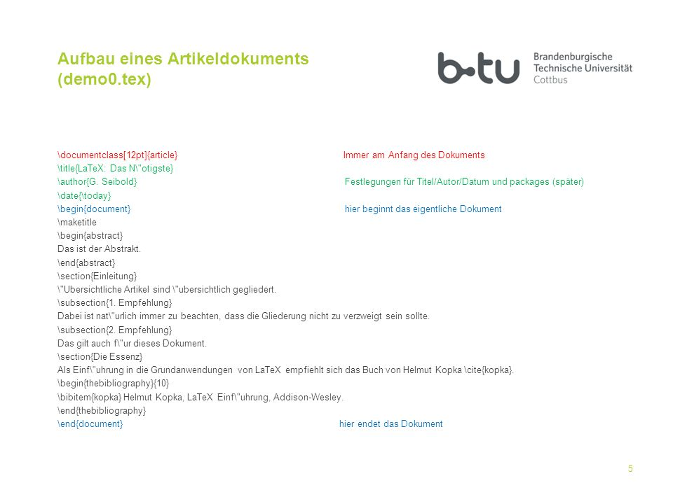 Aufbau eines Artikeldokuments (demo0.tex)