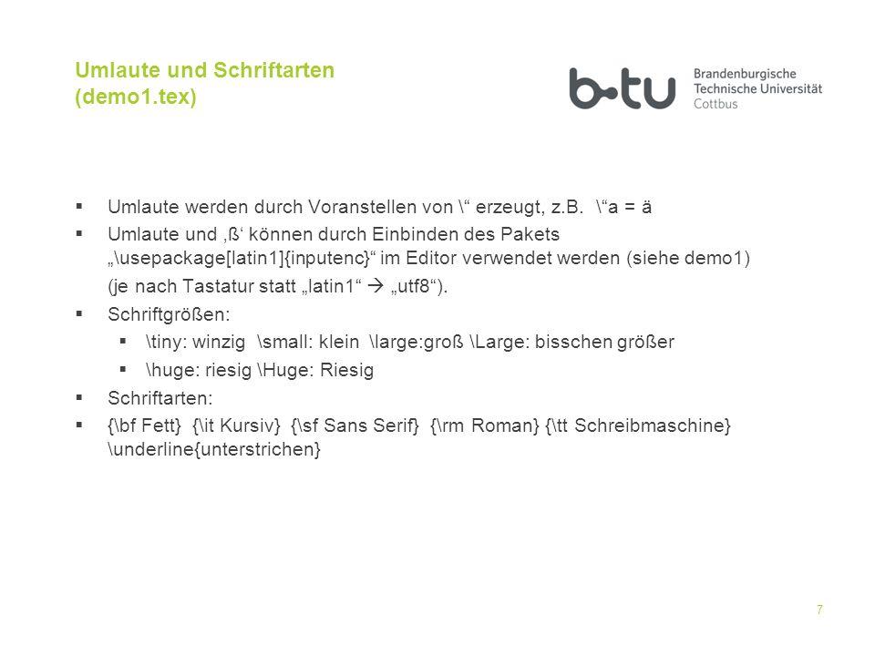 Umlaute und Schriftarten (demo1.tex)