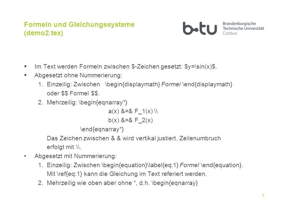 Formeln und Gleichungssysteme (demo2.tex)