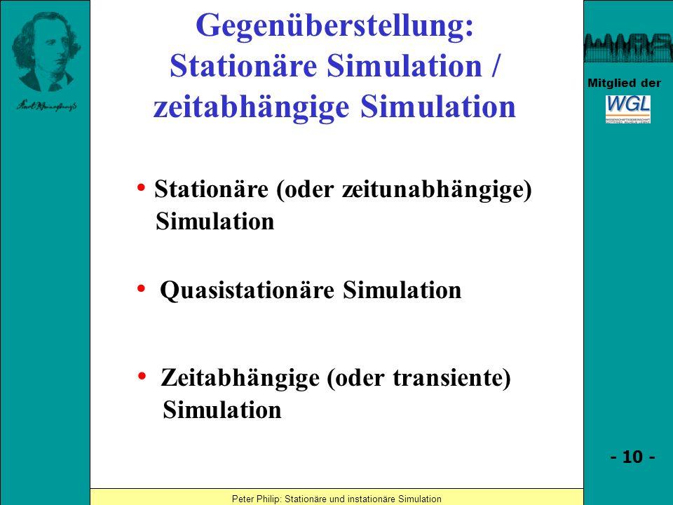 Stationäre Simulation / zeitabhängige Simulation