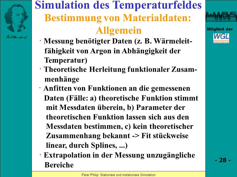 Simulation des Temperaturfeldes Bestimmung von Materialdaten: