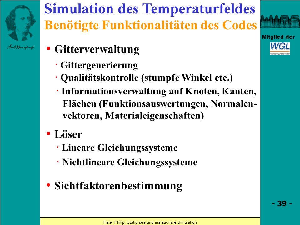 Simulation des Temperaturfeldes Benötigte Funktionalitäten des Codes
